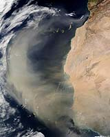 Wind-blown dust from the expanding Sahara Desert reaches far out into the Atlantic Ocean, and eventually North America. Scientists hope to learn how this process, which is linked to climate change, alters the microbial population of the air. Credit: NASA