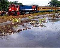 A train travels past seeping mud in Sidoarjo, Indonesia, December 2006. Hundreds of residents whose houses have been submerged by a